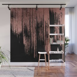Modern chic faux rose gold black paint brushstrokes Wall Mural