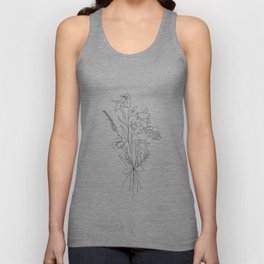 Small Wildflowers Minimalist Line Art Unisex Tank Top