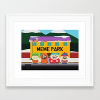 meme Framed Art Prints featuring Meme Park by Milan Harangozó