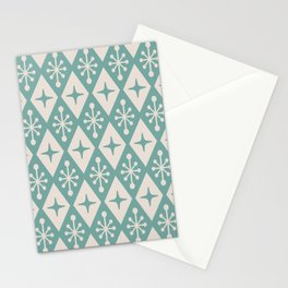 Mid Century Modern Atomic Triangle Pattern 711 Green and Beige Stationery Cards
