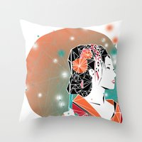 geisha Throw Pillows featuring GEISHA by ARCHIGRAF