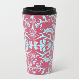 Stag Damask in Pink and Blue Travel Mug