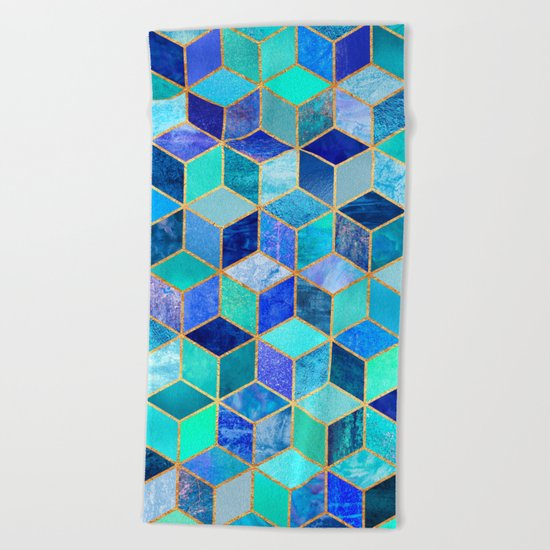 Blue Cubes Beach Towel