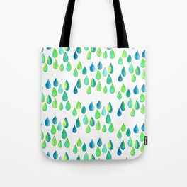 Cherish All of Your Tears blue green pattern tears illustration watercolor inspirational words Tote Bag