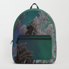 Northern Lights and White Trees (Color) Backpack
