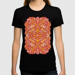 Red and yellow pattern design full of weird fantastic creatures T-shirt