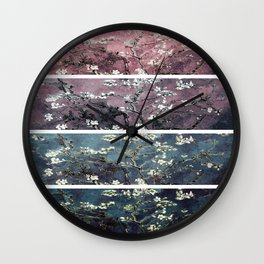 Vincent Van Gogh Almond Blossoms Panel Dark Pink Eggplant Teal Wall Clock