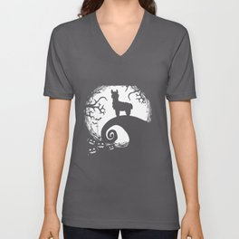 Funny Llamas And Moon Halloween Costume Gift Unisex V-Neck
