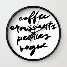 coffee croissants peonies Wall Clock