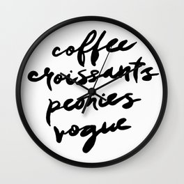 coffee croissants peonies Wall Clock