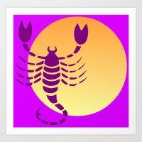 scorpio Art Prints featuring Scorpio by Geni