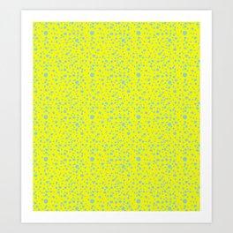 Postmodern Granite Terrazzo Large Scale in Canary Yellow + Mint Art Print