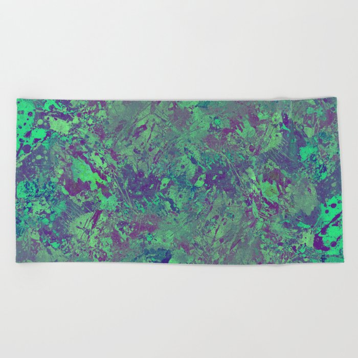 Cool And Calm - Abstract blue and purple painting, icy, chilled out, calming, relaxing artwork Beach Towel