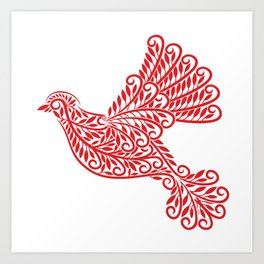 Peace Dove, Red and White Art Print