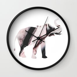 pink elephant, marbled Wall Clock