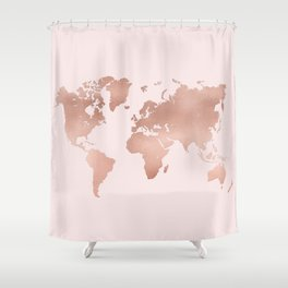 Rose Gold World Map Shower Curtain