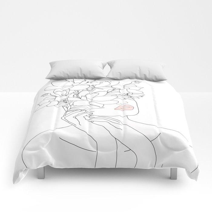 Minimal Line Art Woman with Magnolia Comforters