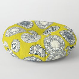 mandala cirque spot chartreuse Floor Pillow
