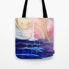 Flourescent Waterfall Painting. Waterfall, Abstract, Blue, Pink. Water. Jodilynpaintings. Tote Bag