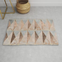 Copper Foil and Blush Rose Gold Marble Triangles Argyle Rug