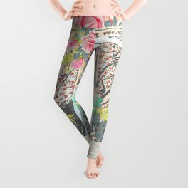 Vintage pink roses retro colorful collage pinup girl Leggings