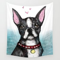 boston terrier Wall Tapestries featuring Boston Terrier by Inked in Red