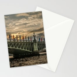 Sunset over Trinity Bridge, Saint Petersburg Stationery Cards