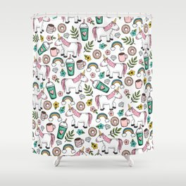 Unicorns and Rainbows, Frappuccino, Donuts, Flowers, Pink Unicorn, Girls Print, Girls' Decor Shower Curtain