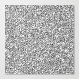 Silver Gray Glitter Canvas Print