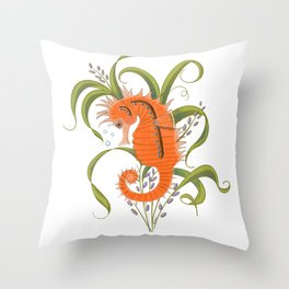 Under the sea baby seahorse-clear Throw Pillow