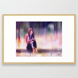 Phone Girl Framed Art Print