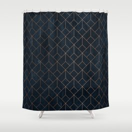 Gold Art deco on Navy ink Shower Curtain