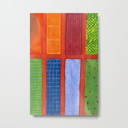 Large rectangle Fields between red Grid Metal Print