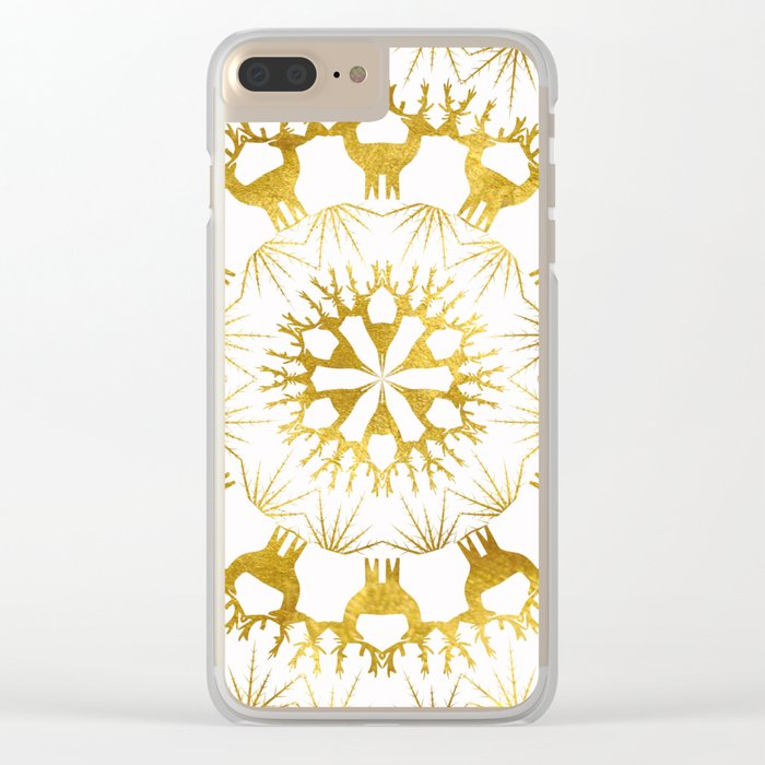 Gold Christmas 05 Clear iPhone Case