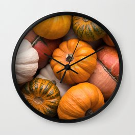 Pumpkins background Wall Clock