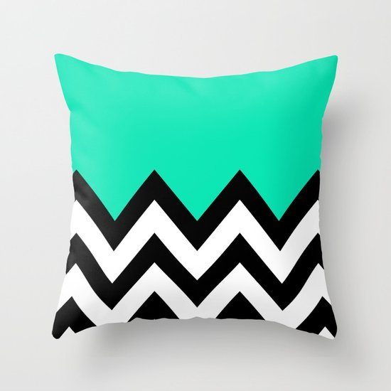 TEAL COLORBLOCK CHEVRON Throw Pillow