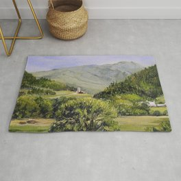Pastures and Mount Mansfield Oil Landscape Vermont Painting Rug