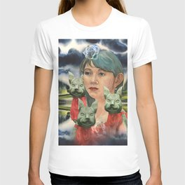 Japanese Woman with foxes T-shirt