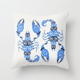 Blue Scorpion Throw Pillow
