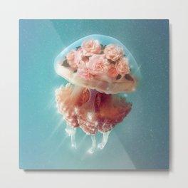 Floral Jellyfish Metal Print