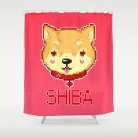shiba Shower Curtains featuring SHIBA INU LOVE by giaj