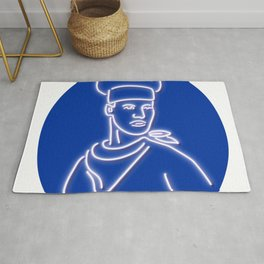 Chef Looking to Side Glowing Neon Sign Rug