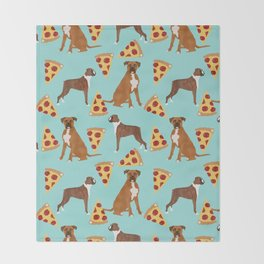 Boxer dog pattern pizza dog lover pet portraits boxers dog breed by pet friendly Throw Blanket
