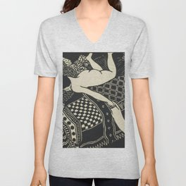 Woman With Cat Unisex V-Neck