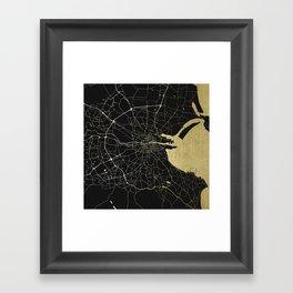 Dublin Ireland Black on Gold Street Map Framed Art Print