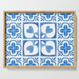 Handpainted watercolor tiles. Decorative abstract design. Serving Tray