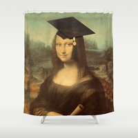 mona lisa Shower Curtains featuring Mona Lisa Graduate by Gravityx9