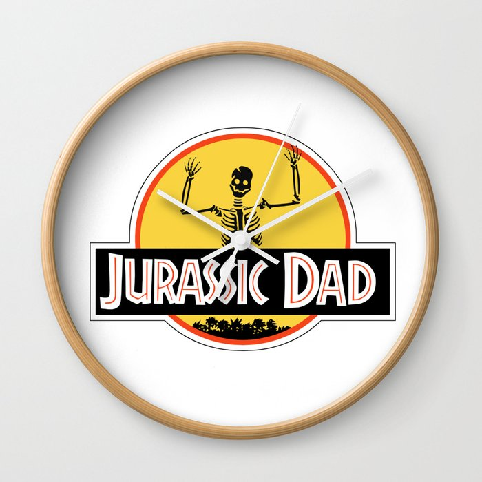Jurassic Dad Dinosaur Skeleton Funny Birthday Gift 2 Wall Clock By Podartist