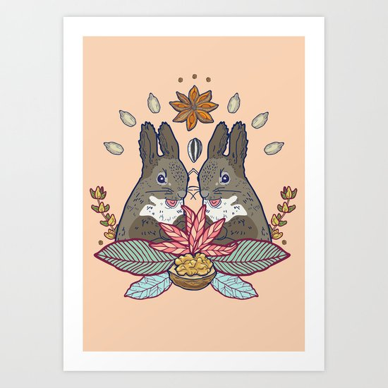 squirrel love Art Print