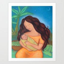 Hawaiian Mother & Child, Banana Tree Art Print